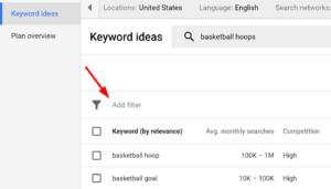targetingOptionsFilter googleAdWord